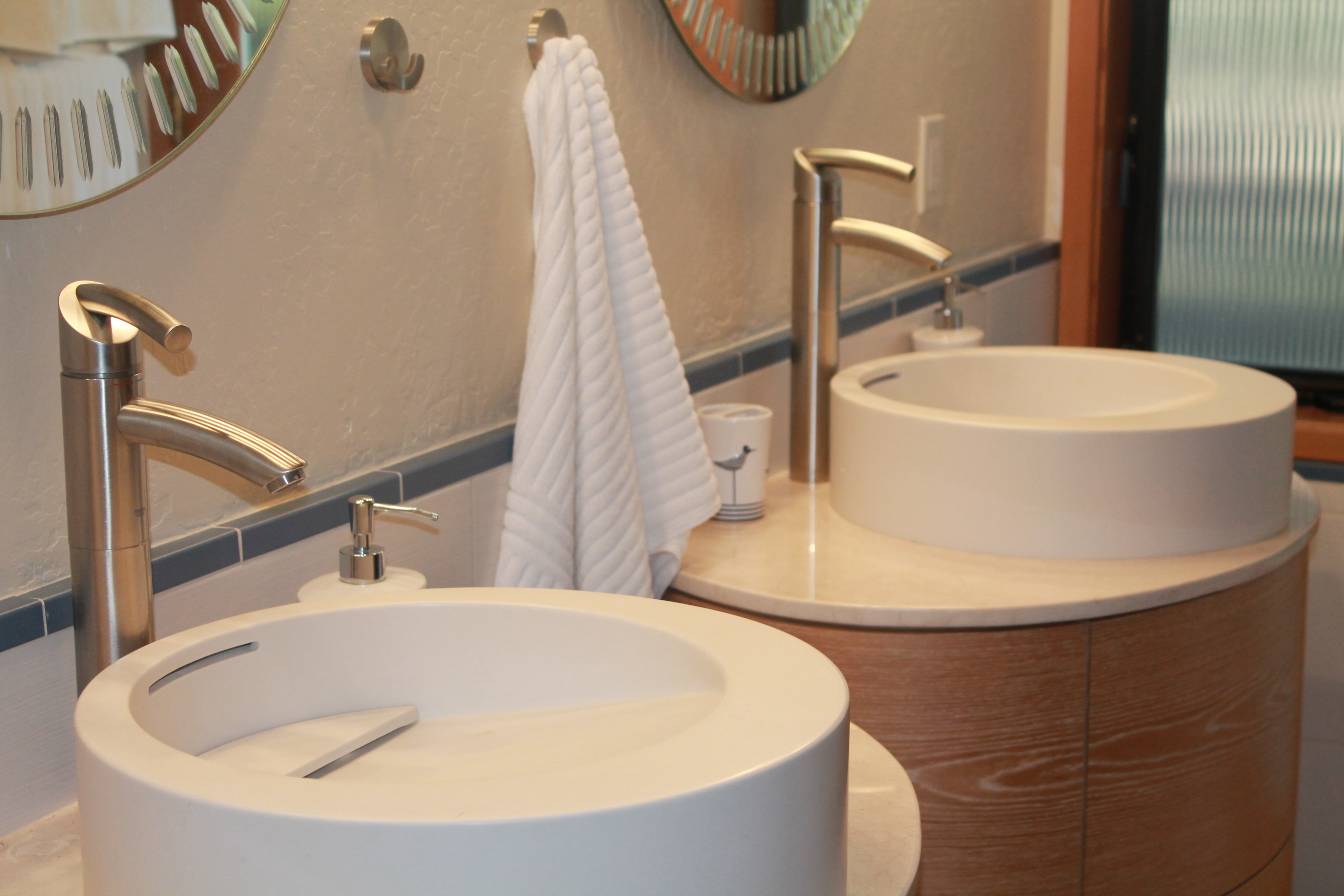 The Guest Bath, By Dale Utley (831 422 7646) And Randy Marty Contractors  (831 345 6577) Is Equally Dreamy. Look At These Fun Round Sinks With  Slanted ...