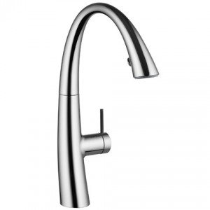 This faucet is designed to be beautiful no matter which direction the faucet is swiveled in its 270° radius of movement
