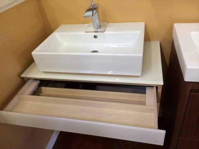 Another beachy vanity option in a creamy sand and glass for Bathroom fixtures san jose