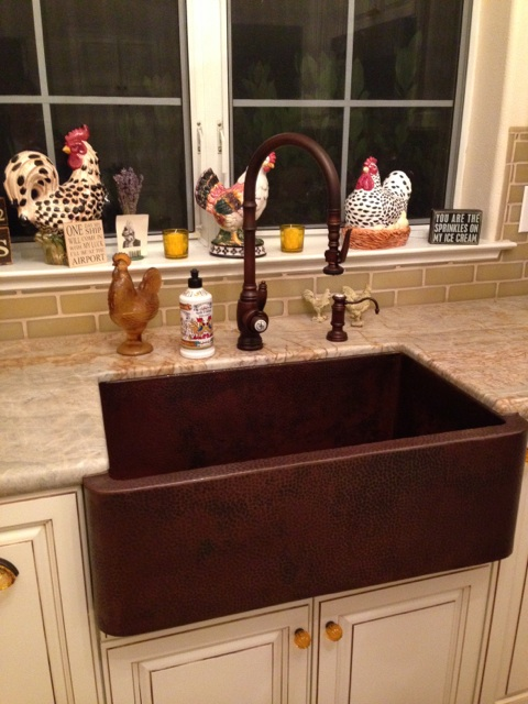 French Country Kitchen with Copper Farm Sink - Plumbed Elegance ...