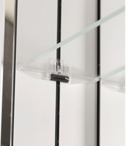 "This patented shelf adjustment system uses a rider on the rails which allows shelf adjustment at 1"" intervals without any tools required"